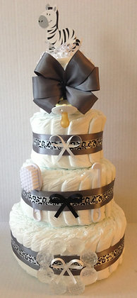 Zebra Diaper Cake. 4 Tier