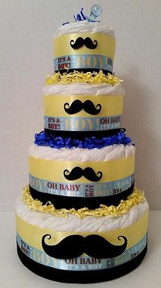 Mustache Diaper Cake - 4 Tier
