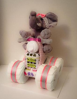 Elephant on a Chevron Quad Diaper Cake