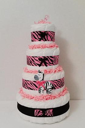 Pink Safari Diaper Cake - 4 Tier