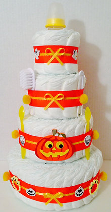 Halloween-Pumpkin Diaper Cake. 4 Tier.