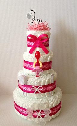 Pink Zebra Diaper Cake. 4 Tier. Style #2