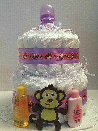 Little Purple Monkey Diaper Cake 2 Tier