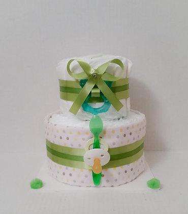 Polka Dots Green Baby Cake 2 Tier