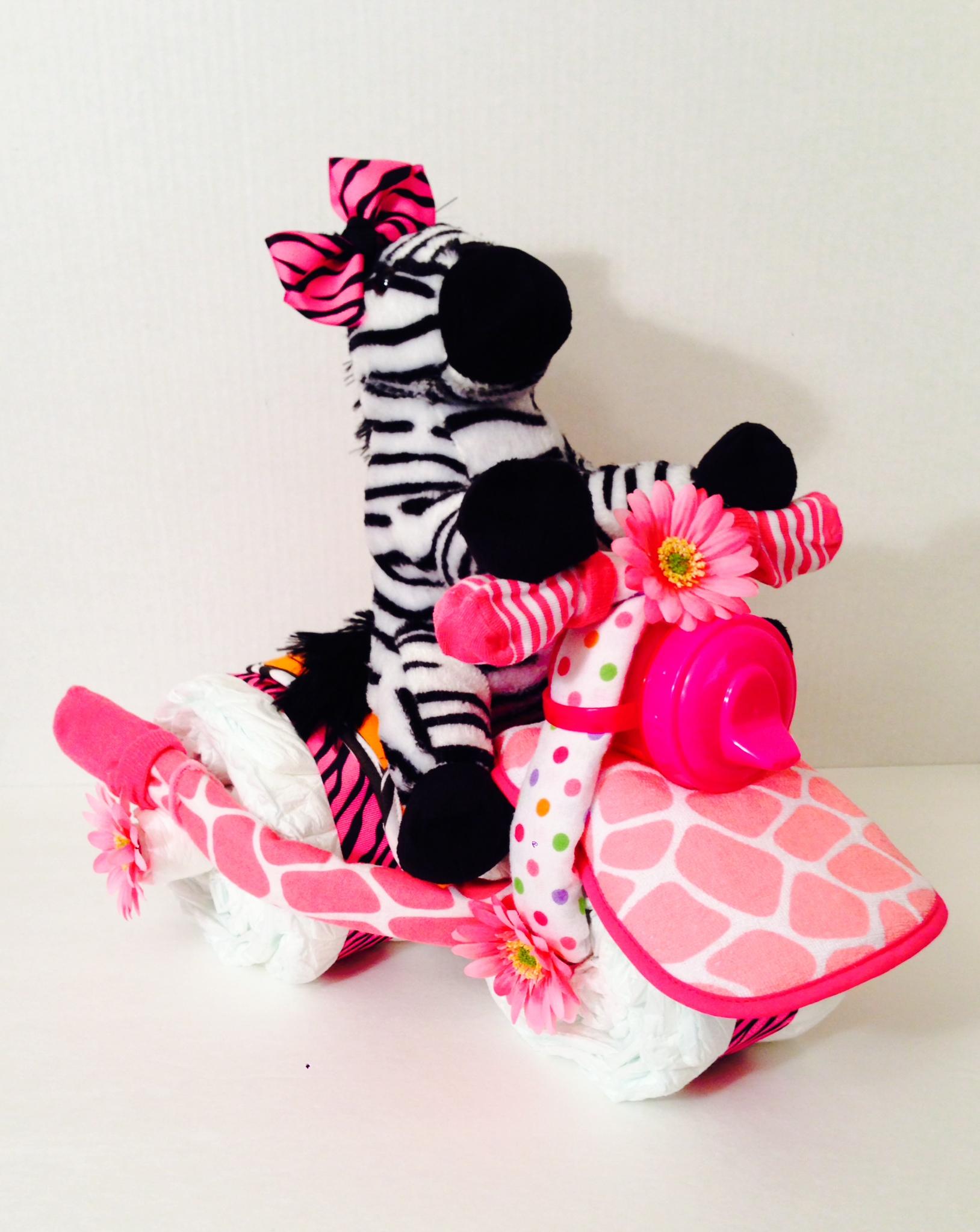 Pink and White Zebra Diaper Cake