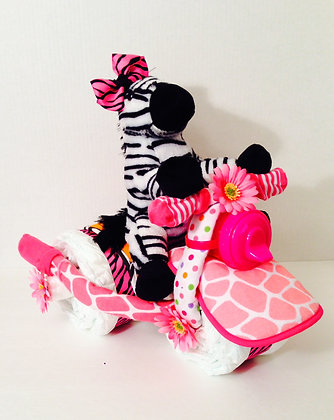 Hot Pink Zebra on Tricycle Diaper Cake