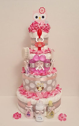 Owl Chevron Diaper Cake 4 Tier