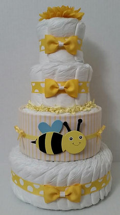 Baby Bee with a Flower Diaper Cake - 4 Tier