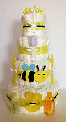 Mom to Bee Diaper Cake. 4 Tier.