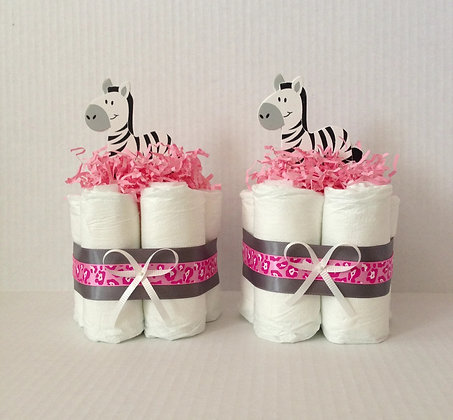Pink Zebra Mini-Diaper Cake Centerpieces. Style #1