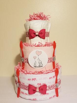Elegant Baby Elephant Mommy and Me Diaper Cake
