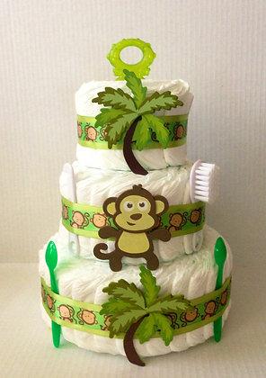Sweet Monkey Diaper Cake 3 Tier