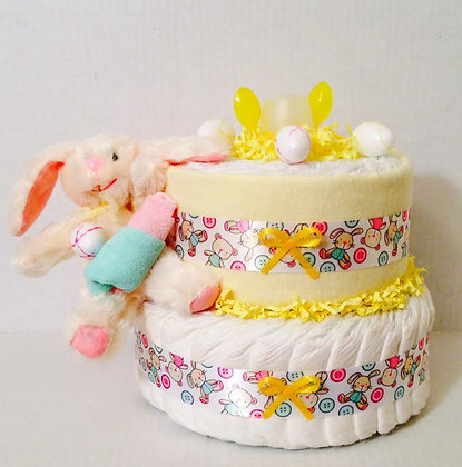 Easter Bunny Baby Shower Mini-Diaper Cake.