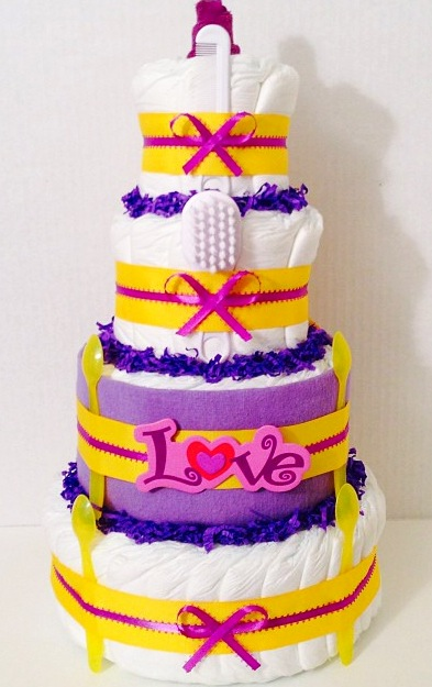 Love and Peach Diaper Cake