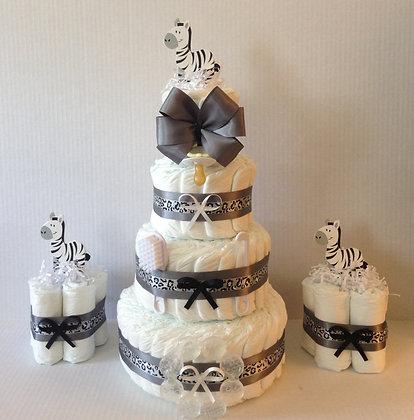Combo Zebra Baby Diaper Cakes and Centerpieces