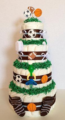 Football, Soccer, & Basketball Sports Diaper Cake