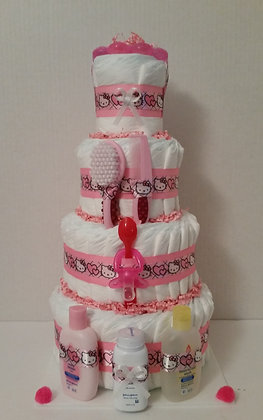 Hello Kitty Diaper Cake. 4 Tier