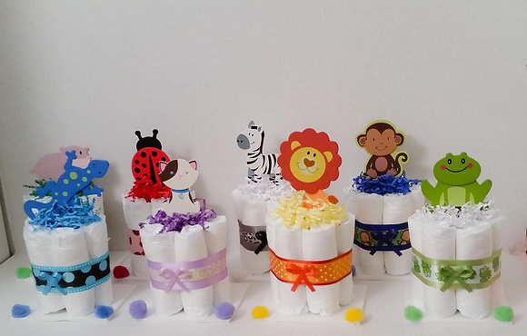 Jungle Baby Animals Mini-DiaperCake Centerpieces