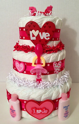 Love is in the Air - Valentine Diaper Cake. 3 Tier
