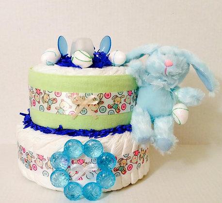 Easter Bunny Baby Shower Mini-Diaper Cake.