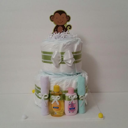 Elegant Monkey Diaper Cake. 2 Tier