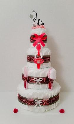 Pink Zebra Diaper Cake. 4 Tier. Style #1