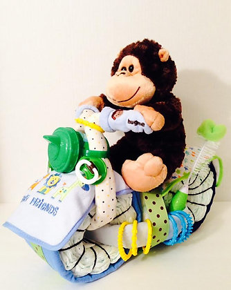 Monkey on a Motorcycle Diaper Cake for Boys