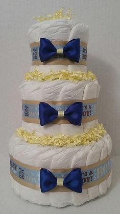 It's a Baby Boy Elegant Diaper Cake - 3 Tier