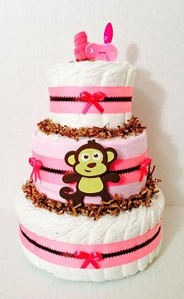 Pink Little Monkey Diaper Cake - 3 Tier