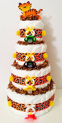 Tiger - Pacifiers Diaper Cake. 4 Tier