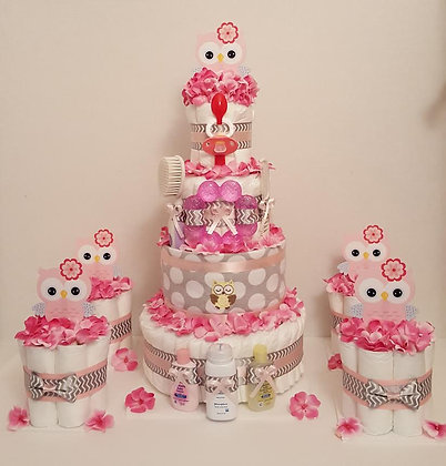 Chevron Owl Diaper Cake Set