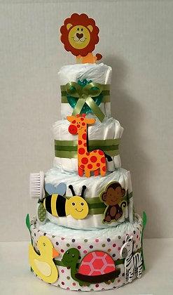 Baby Animals Diaper Cake 4 Tier
