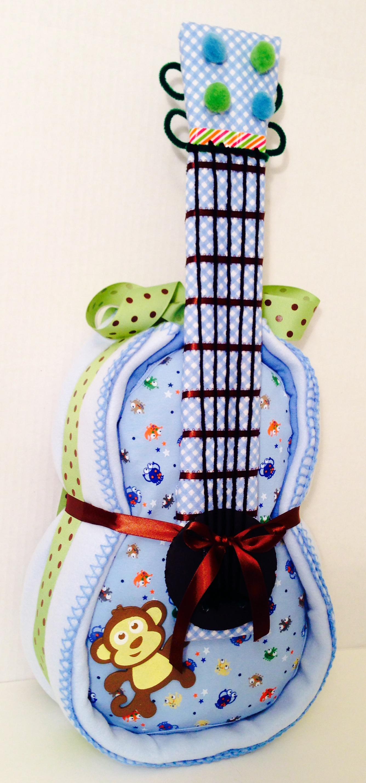 Blue Diaper Guitar Cake