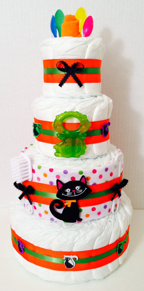 enjoy this beautiful halloween black cat diaper cake at your next baby shower event