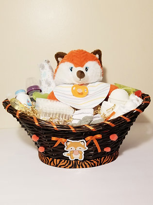 Baby Fox Basket Diaper Cake