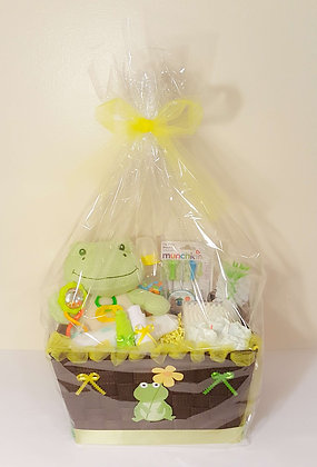 Diaper cakes and baby shower gifts finediapercakes froggy froggy baby gift basket negle Choice Image