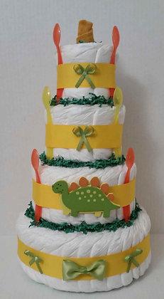 Dinosaur Stomp Diaper Cake - 4 Tier