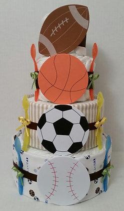 Football-Soccer-Baseball-Basketball Diaper Cake