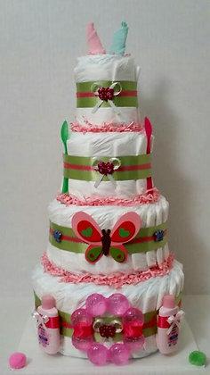Beautiful Butterfly Diaper Cake. 4 Tier.