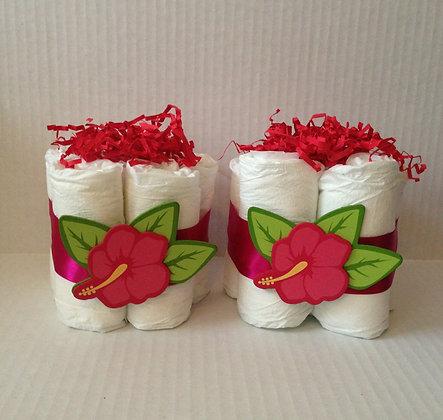Floral Diaper Mini-Diaper Cake Centerpieces