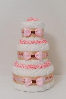 Itu0027s A Baby Girl Elegant Diaper Cake   3 Tier