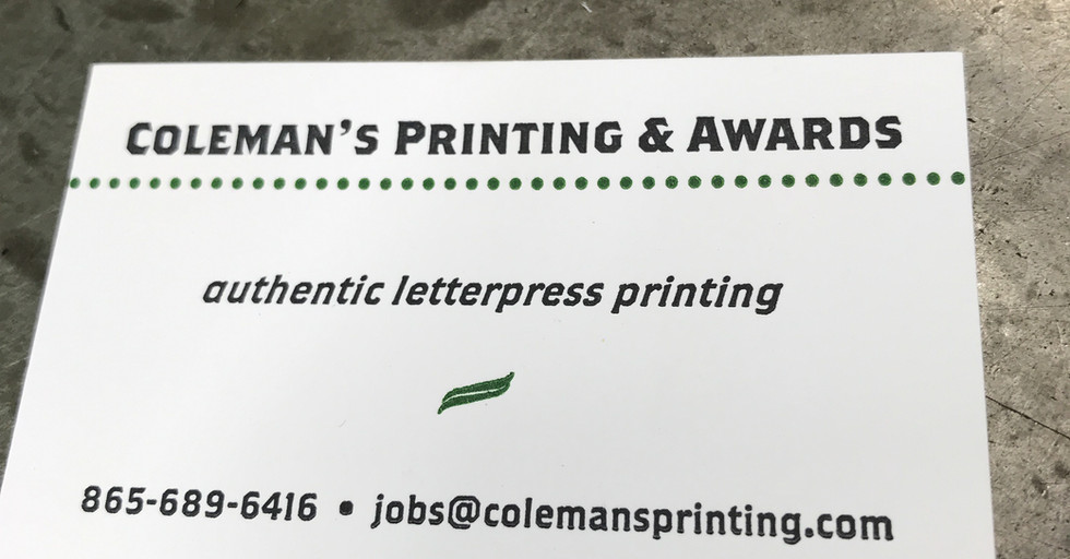 Coleman's Letterpress Card