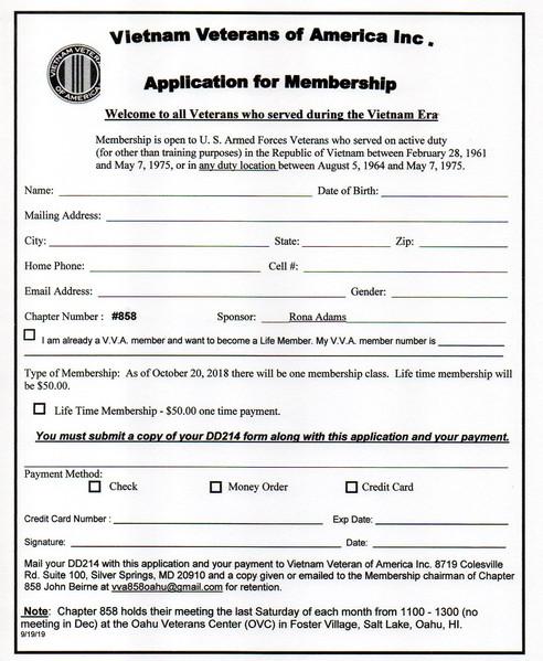 Membership Form to the VVA