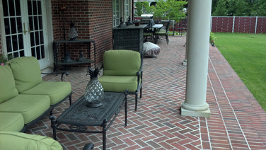 Brick patio with mortar joints, project in Dix Hills NY