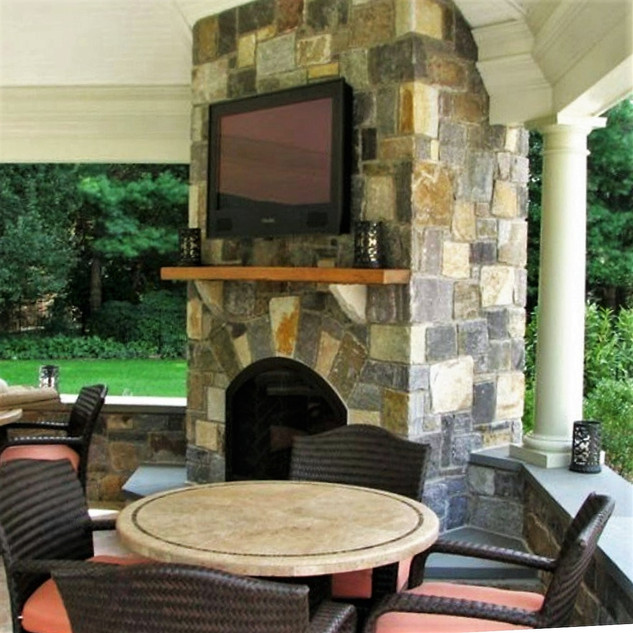 Custom stone outdoor fireplace, project