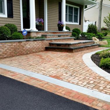 Danish blend brick walkway and bluestone steps