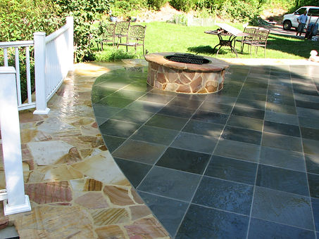 Custom natural stone fire pit, project in Northport NY