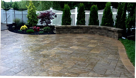 Cambridge paving stones Patio and freestanding wall, Holtsville NY