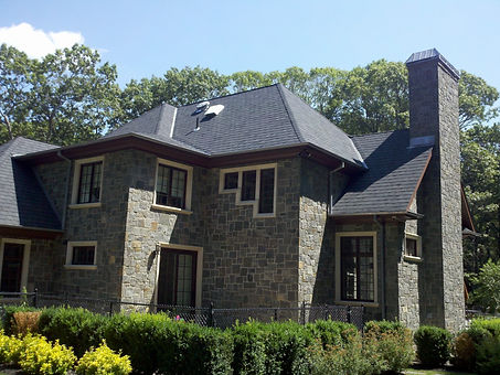 Natural granite stone house facade, project in Brookville NY