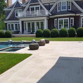 Limestone pool patio, Water Mill NY